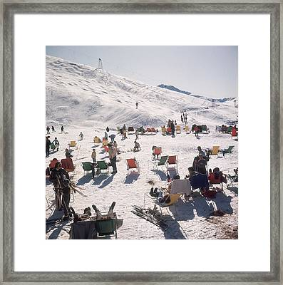 Skiers At Verbier Framed Print
