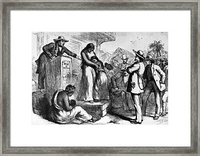 Slave Auction Framed Print by Rischgitz