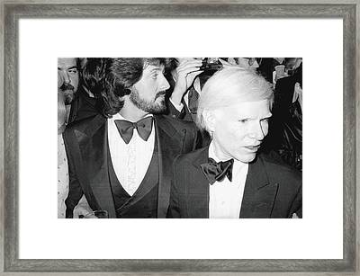 Stallone & Warhol Attend Whitney Opening Framed Print by Fred W. McDarrah