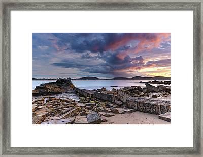 Stormy Sunrise Seascape Framed Print