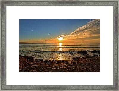 The Calm Sea In A Very Cloudy Sunset Framed Print
