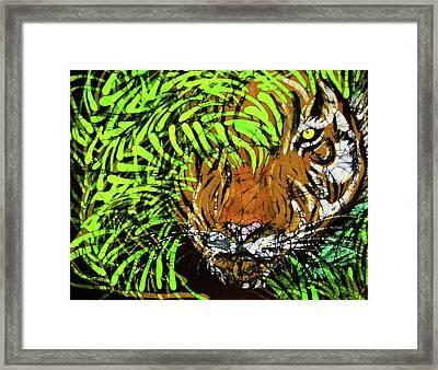 Tiger In Bamboo Framed Print