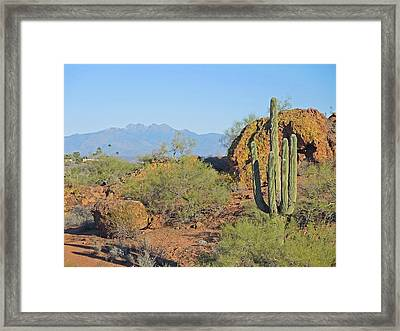 Framed Print featuring the photograph View To Four Peaks  by Lynda Lehmann