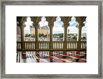 Framed Print featuring the photograph Views Of Las Vegas Nevada Strip In November by Alex Grichenko