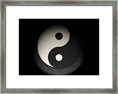 Framed Print featuring the photograph Yin Yang Symbol Leather Texture by Brian Carson