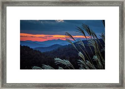 Framed Print featuring the photograph Sunset Over Peaks On Blue Ridge Mountains Layers Range by Alex Grichenko