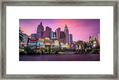 Framed Print featuring the photograph New York City Skyline In Las Vegas Nevada by Alex Grichenko