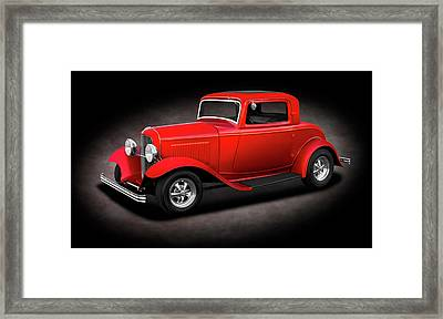 1932 Ford 3 Window Coupe  - 1932fordthreewindowcpespttext186144 Framed Print