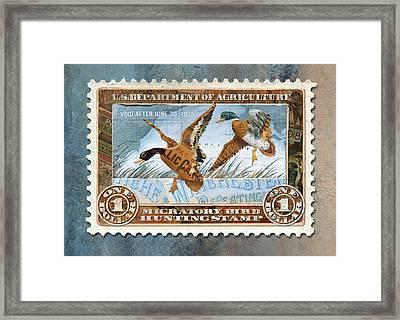 1934 Hunting Stamp Collage Framed Print
