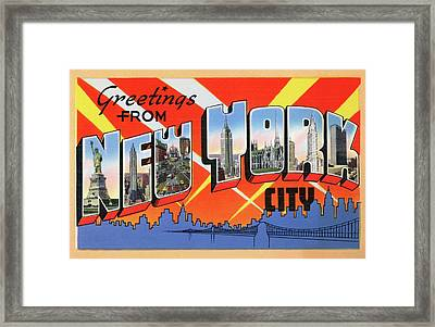 1950s Nyc Tourist Postcard Framed Print