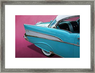 Framed Print featuring the photograph Turquoise 1957 Chevrolet Bel Air by Debi Dalio