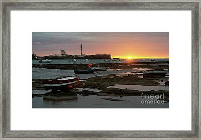 Framed Print featuring the photograph Beached Boats At Sunset Cadiz Spain by Pablo Avanzini