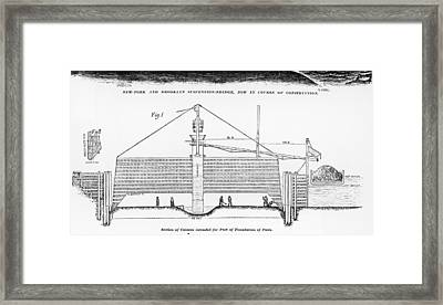 Blueprint Of Brooklyn Bridge Framed Print by Fotosearch