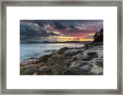 Colours Of A Stormy Sunrise Seascape Framed Print