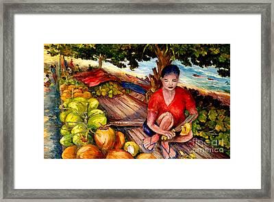 Green Coconut Cafe. Framed Print