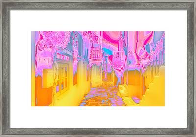 Mykonos - Alley Framed Print