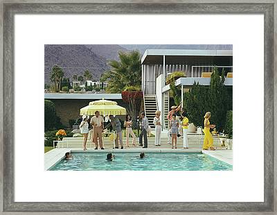 Poolside Party Framed Print by Slim Aarons
