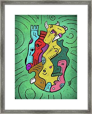 Framed Print featuring the digital art Psychedelic Animals by Sotuland Art