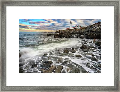 Framed Print featuring the photograph Rising Tide At Portland Head by Rick Berk