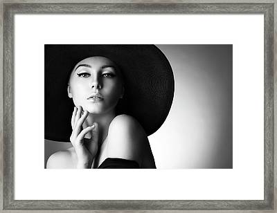 Studio Shot Of Young Beautiful Woman Framed Print by Coffeeandmilk