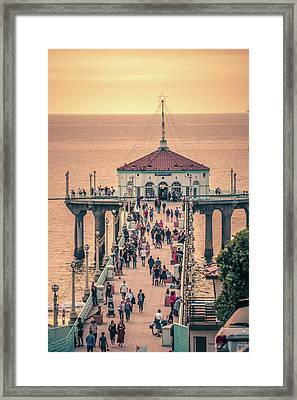 Framed Print featuring the photograph Sunset On Huntington Beach California by Alex Grichenko
