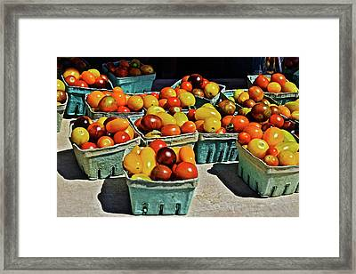 Framed Print featuring the photograph 2017 Monona Farmers' Market Heirloom Cherry Tomatoes by Janis Nussbaum Senungetuk