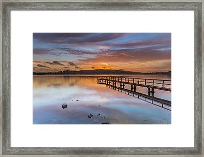 Early Morning Clouds And Reflections On The Bay Framed Print