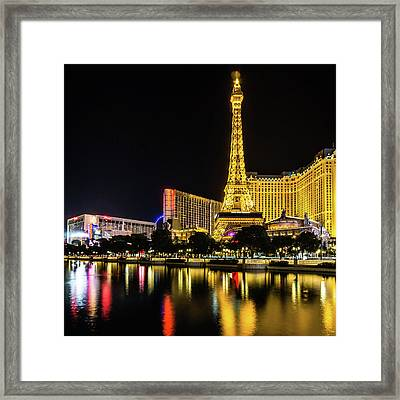 Framed Print featuring the photograph Nigh Life And City Skyline In Las Vegas Nevada by Alex Grichenko