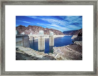 Framed Print featuring the photograph Wandering Around Hoover Dam On Lake Mead In Nevada And Arizona by Alex Grichenko