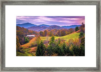 Framed Print featuring the photograph Autumn Season And Sunset Over Boone North Carolina Landscapes by Alex Grichenko