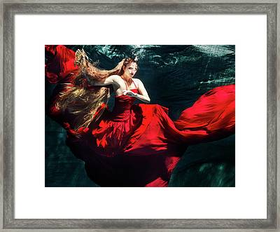 Female Dancer Performing Under Water Framed Print