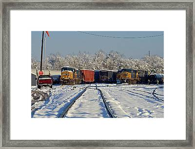 Framed Print featuring the photograph 3 Trains In The Snow by Joseph C Hinson Photography