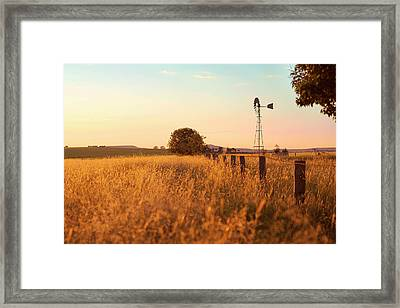 Framed Print featuring the photograph Australian Windmill In The Countryside by Rob D