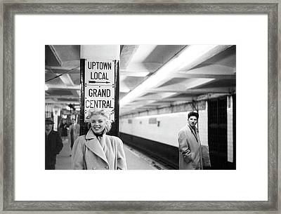 Marilyn In Grand Central Station Framed Print
