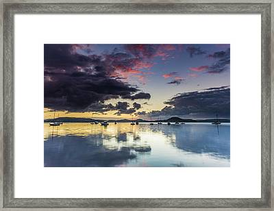 Overcast Morning On The Bay With Boats Framed Print
