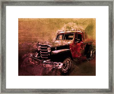 51 Willys Jeep 4x4 Pickup Ridge Running Before Dark Framed Print