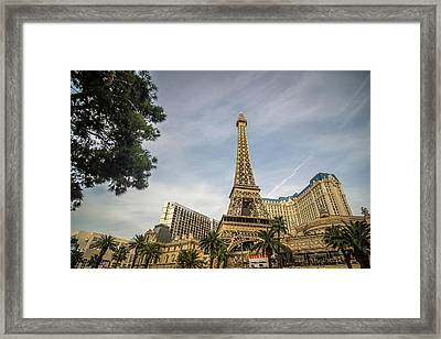 Framed Print featuring the photograph View On The Replica Of Eiffel Tower At Paris Hotel   by Alex Grichenko