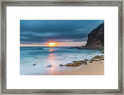 Sunrise Seascape And Cloudy Sky Framed Print