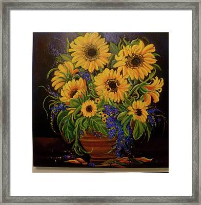 A Bouquet Of Sunflowers Framed Print by Janet Silkoff