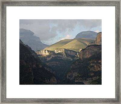 Framed Print featuring the photograph A Dash Of Light In The Canyon Anisclo by Stephen Taylor