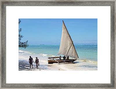 A Dhow In Zanzibar Framed Print