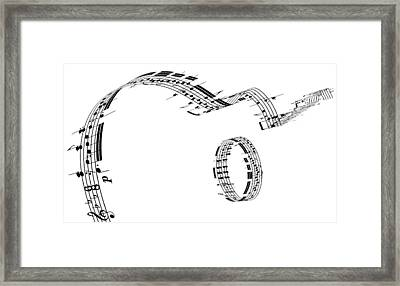 A Guitar Made Of Music Notes Framed Print by Ian Mckinnell
