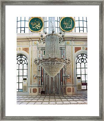 A Large Crystal Chandelier In The Framed Print