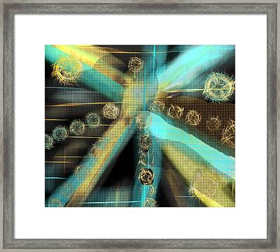 A Light Beams In Gold Brown And Blue Framed Print