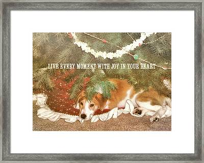 A Puppy For Christmas Quote Framed Print by JAMART Photography