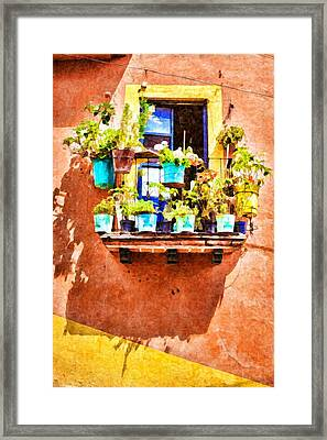 Framed Print featuring the photograph A Small Suspended Garden In Mexico - Digital Paint by Tatiana Travelways