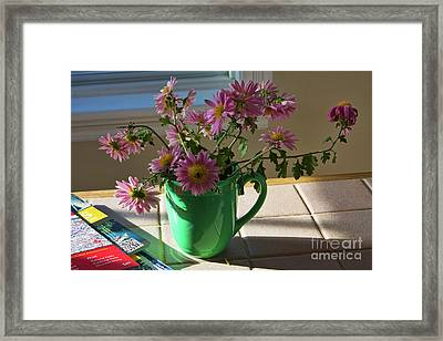 Framed Print featuring the photograph A Traveler Still Life With Autumn Flowers by Tatiana Travelways
