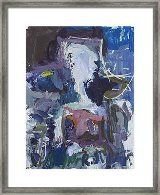 Abstract Blue Cow Framed Print