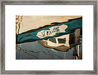 Framed Print featuring the photograph Abstract Boat Reflection Vi Color by David Gordon