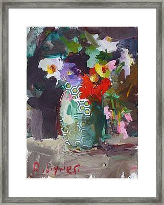 Abstract Flower Still Life Painting Framed Print